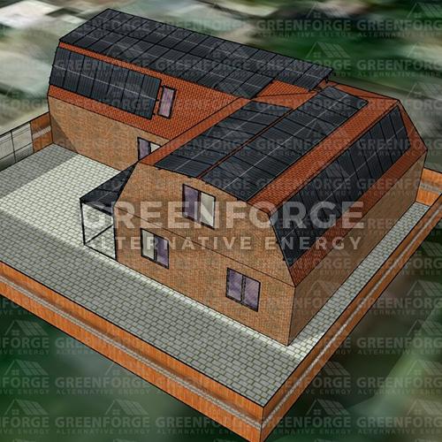 Сетевая солнечная станция мощностью 30 кВт на крыше дома.